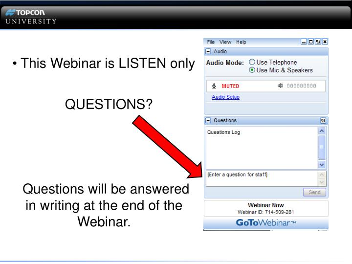 This Webinar is LISTEN only