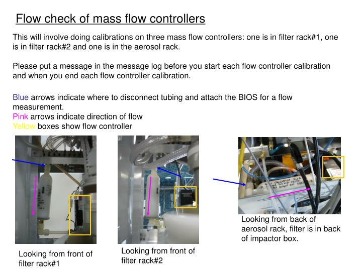 Flow check of mass flow controllers