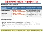 experimental results highlights 1 3