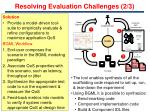 resolving evaluation challenges 2 3