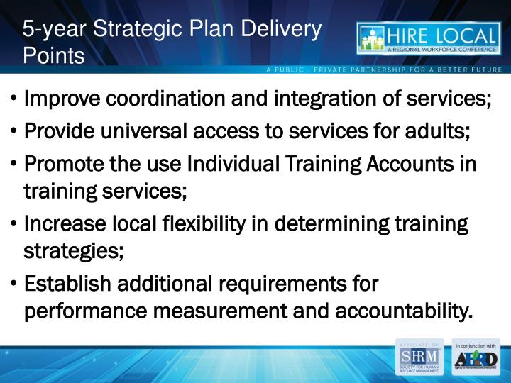 5-year Strategic Plan Delivery Points