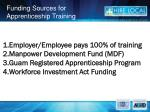 funding sources for apprenticeship training