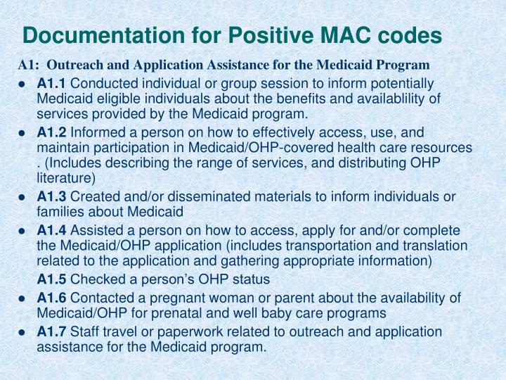 Documentation for Positive MAC codes