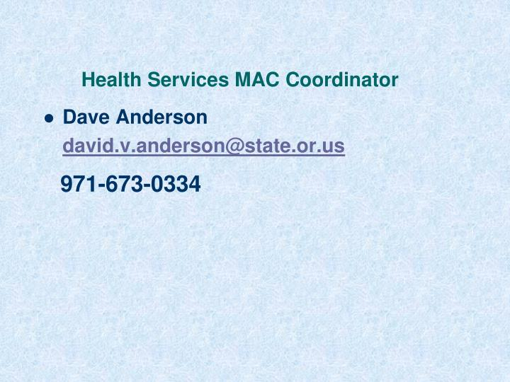 Health Services MAC Coordinator