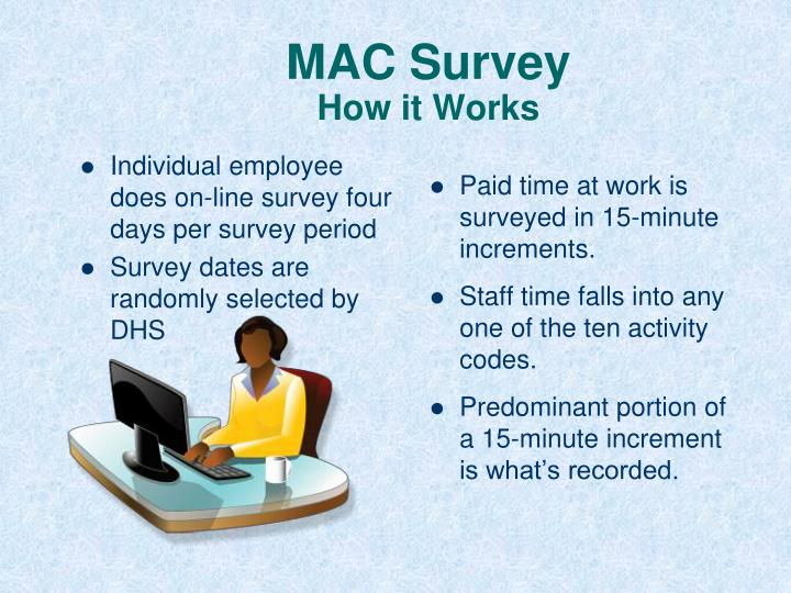 Individual employee does on-line survey four days per survey period