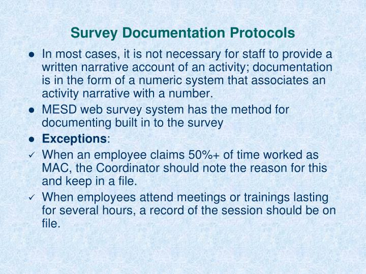 Survey Documentation Protocols