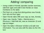 adding comparing