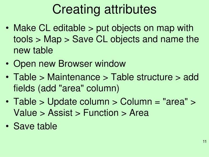 Creating attributes