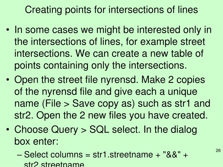 Creating points for intersections of lines
