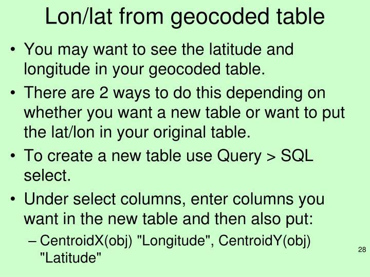 Lon/lat from geocoded table