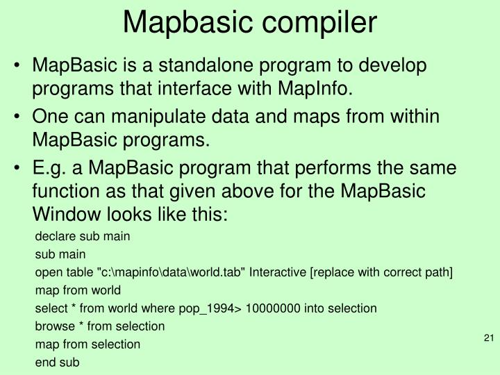 Mapbasic compiler