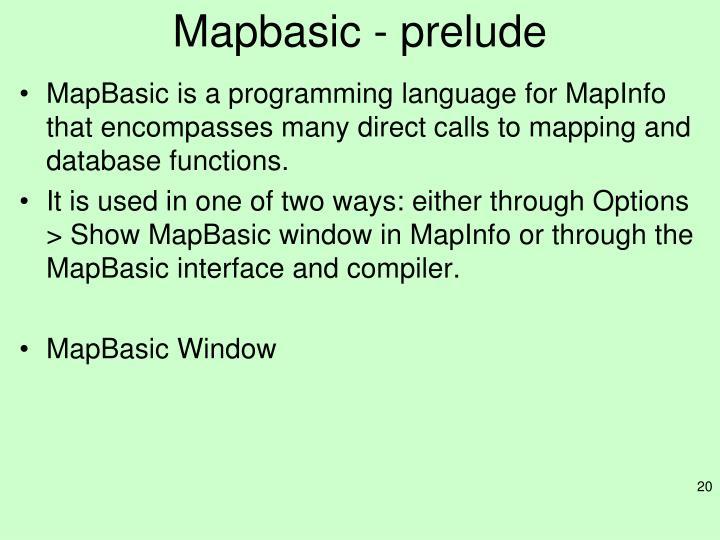 Mapbasic - prelude