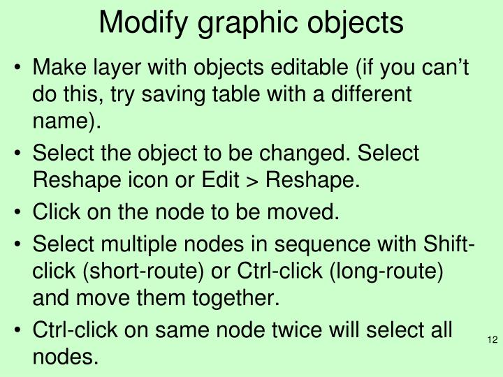 Modify graphic objects