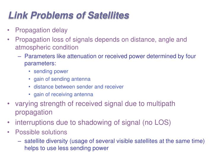 Link Problems of Satellites