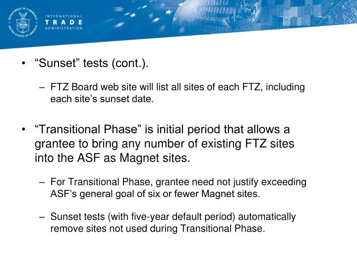 """""""Sunset"""" tests (cont.)."""