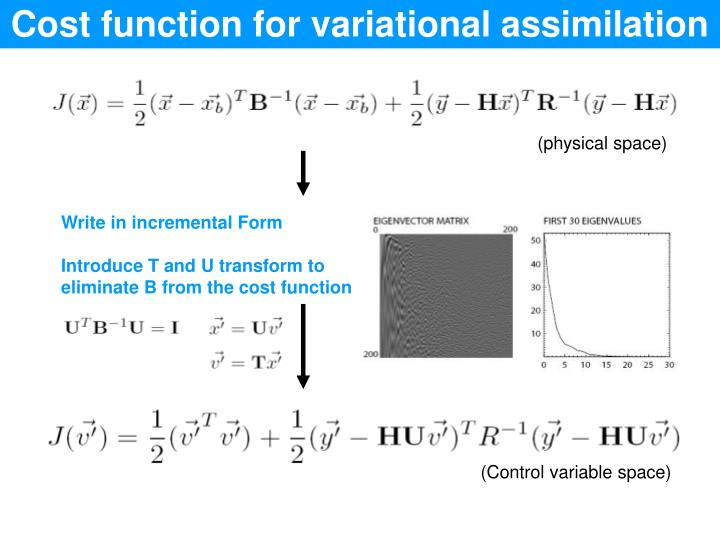 Cost function for variational assimilation
