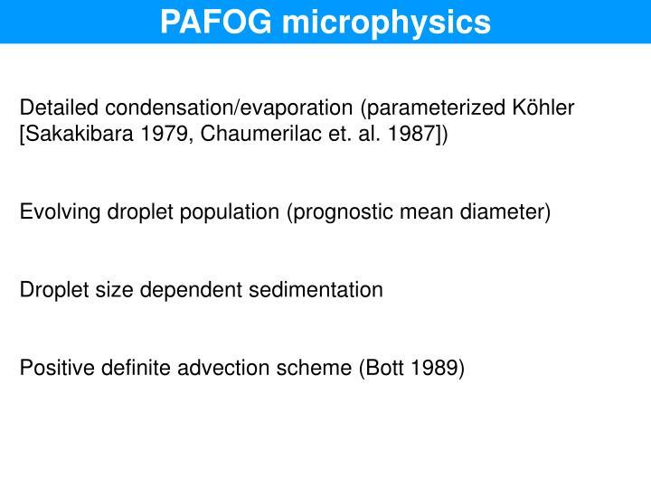PAFOG microphysics