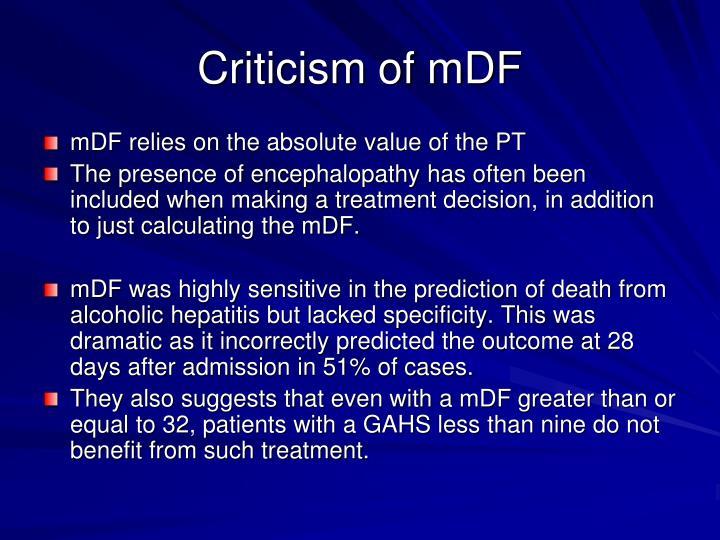 Criticism of mDF