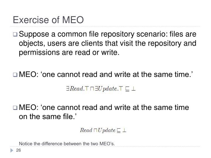 Exercise of MEO