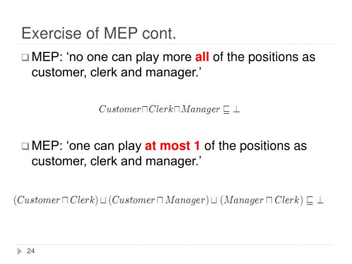 Exercise of MEP cont.
