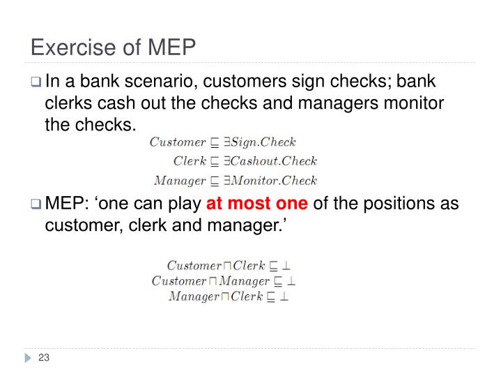 Exercise of MEP