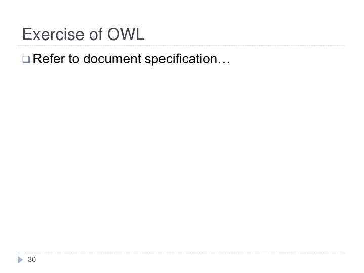 Exercise of OWL