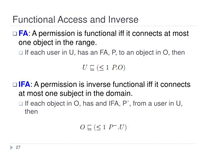 Functional Access and Inverse