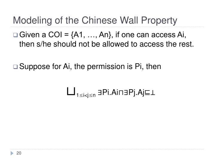 Modeling of the Chinese Wall Property
