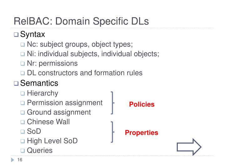 RelBAC: Domain Specific DLs