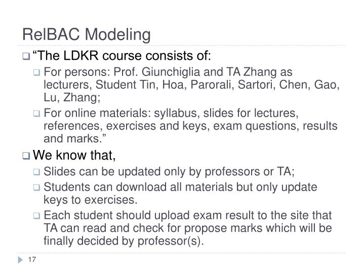 RelBAC Modeling