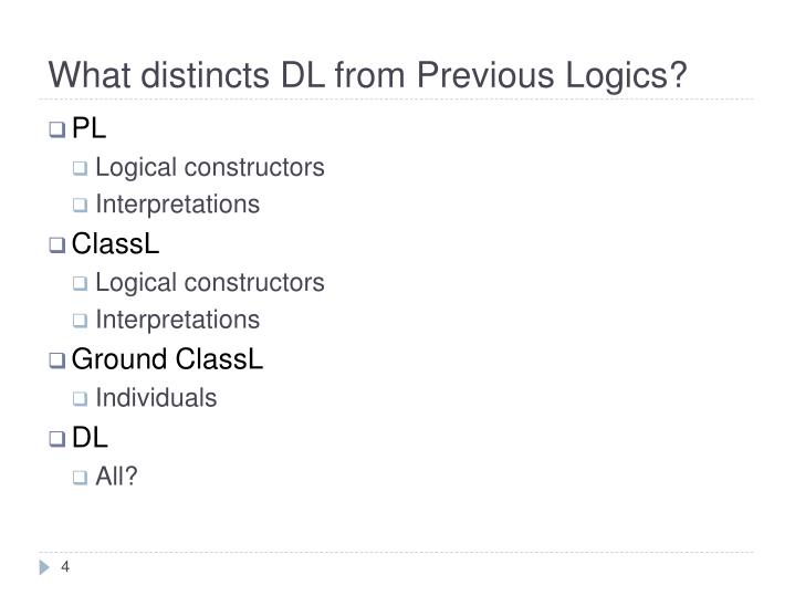 What distincts DL from Previous Logics?