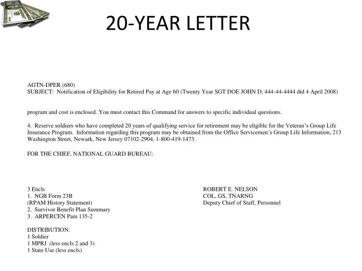 20-YEAR LETTER