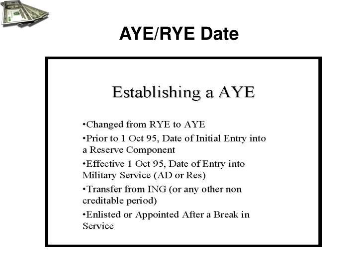 AYE/RYE Date