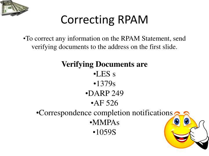 Correcting RPAM