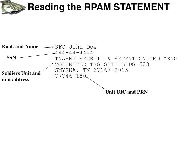 Reading the RPAM STATEMENT