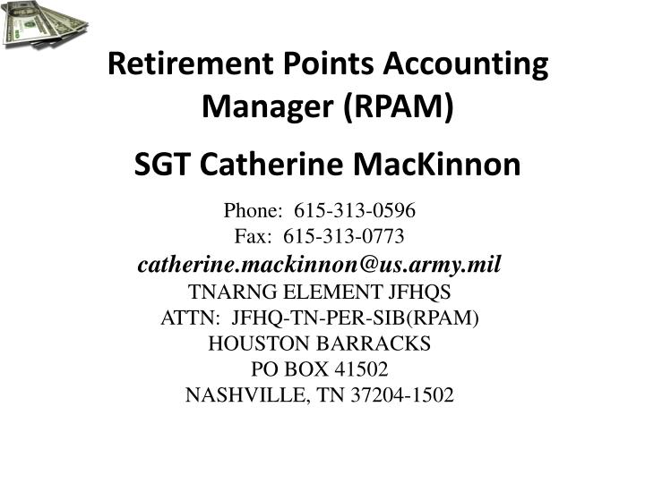 retirement points accounting manager rpam sgt catherine mackinnon