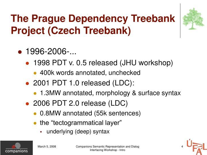 The Prague Dependency Treebank Project (Czech Treebank)