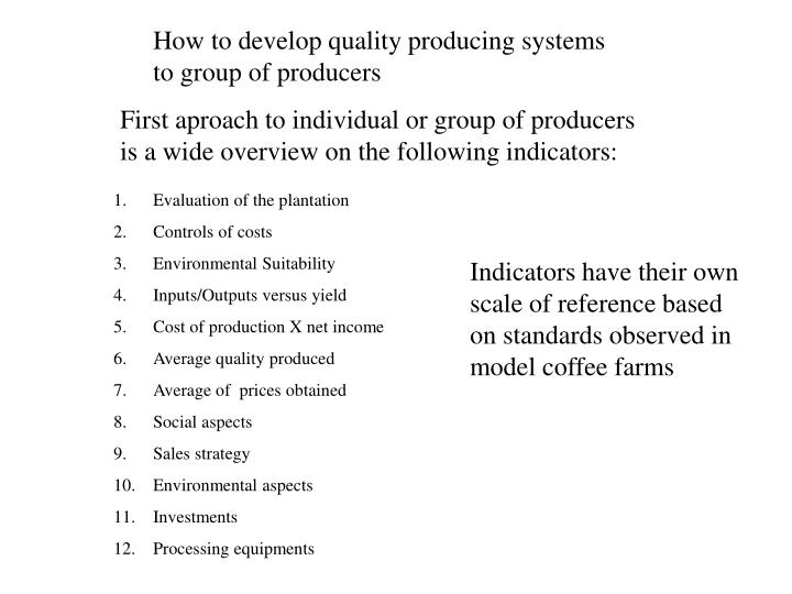 How to develop quality producing systems to group of producers