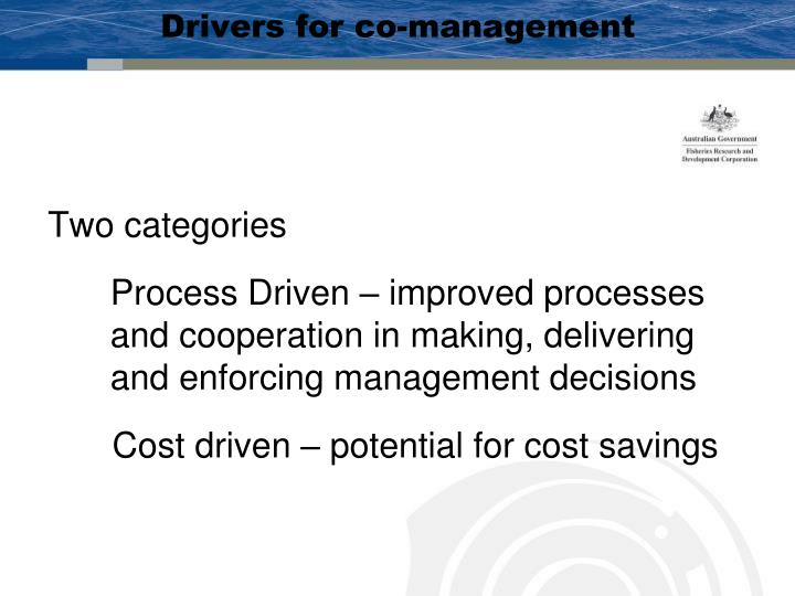 Drivers for co-management