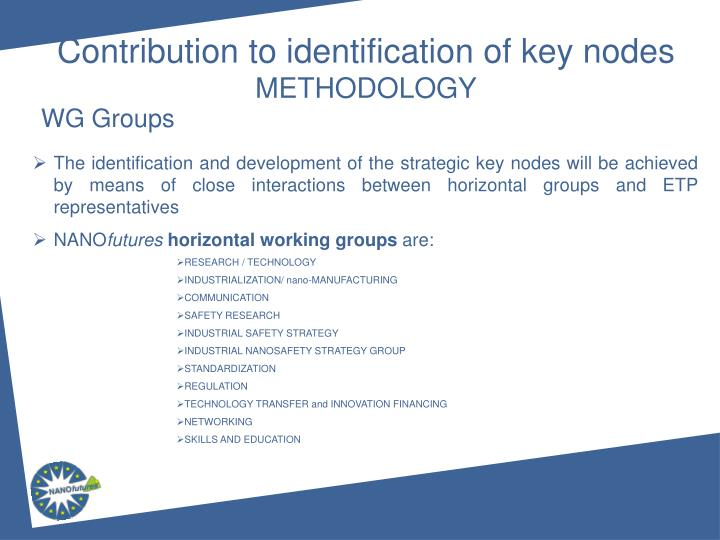 Contribution to identification of key nodes