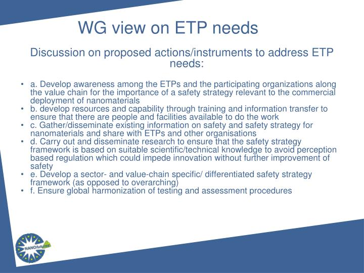 Discussion on proposed actions/instruments to address ETP needs: