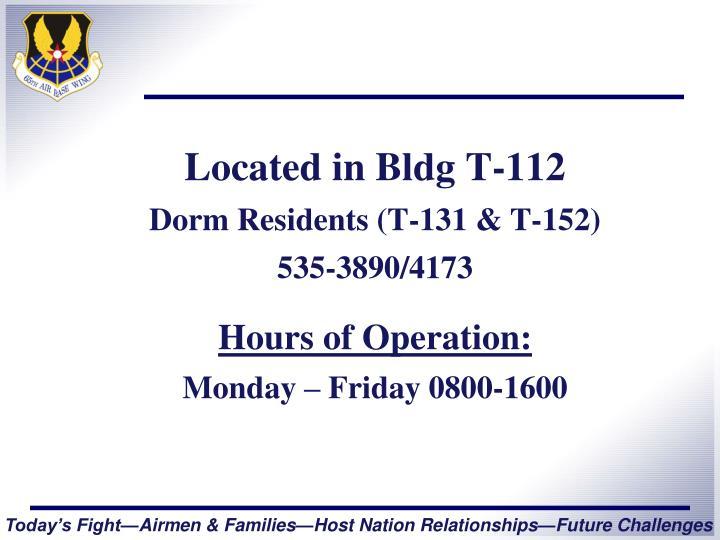 Located in Bldg T-112