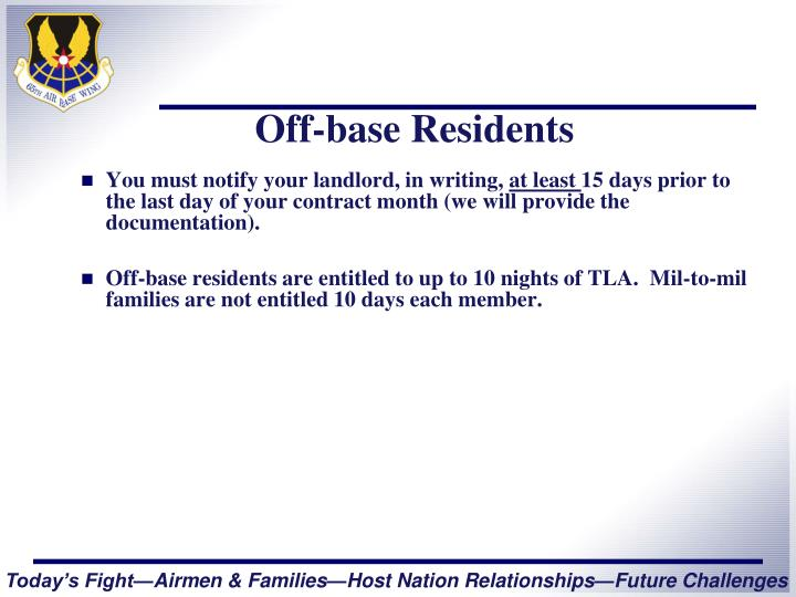Off-base Residents