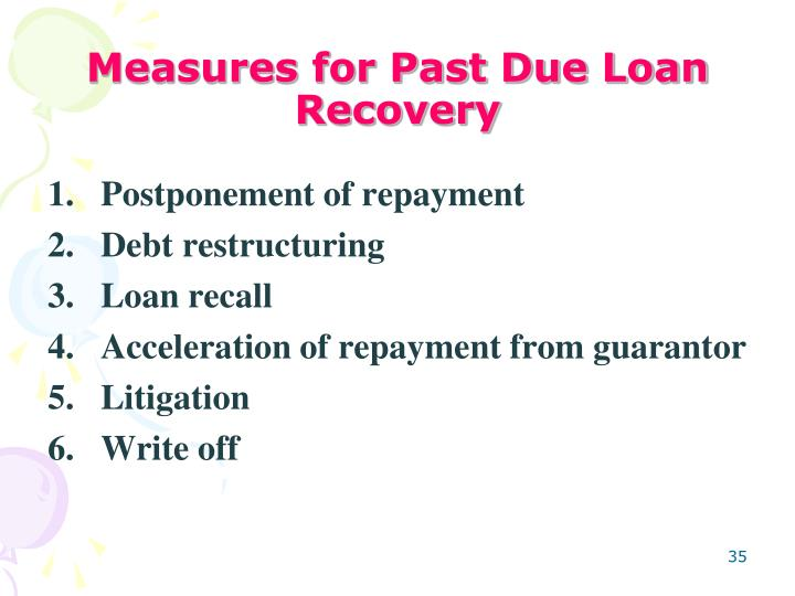 Measures for Past Due Loan Recovery