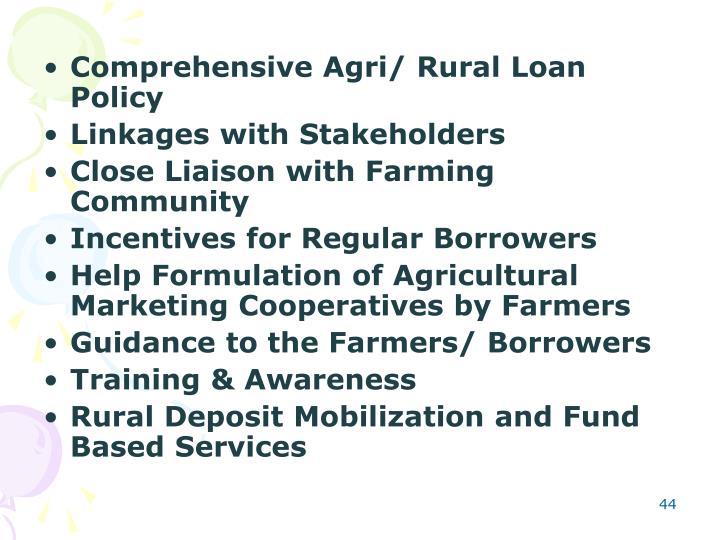 Comprehensive Agri/ Rural Loan Policy