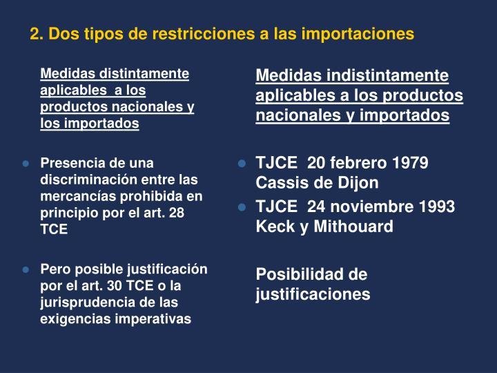 Medidas distintamente aplicables  a los productos nacionales y los importados