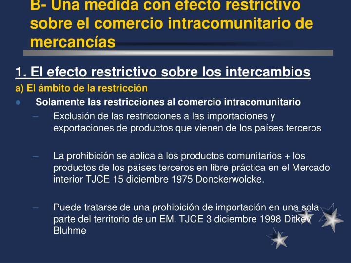 B- Una medida con efecto restrictivo sobre el comercio intracomunitario de mercanc