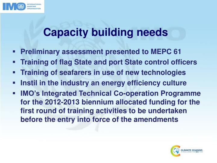 Capacity building needs
