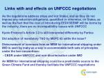 links with and effects on unfccc negotiations