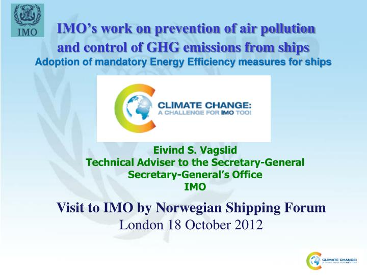 IMO's work on prevention of air pollution